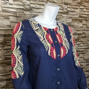 Anthropologie Blue Embroidered Button Down Blouse